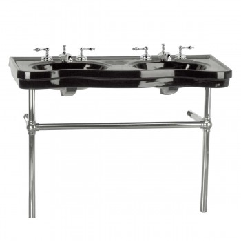 Belle Epoque Double Deluxe Chrome Bistro Frame Black 8 in. widespread - Console Sinks, console sink info & unique accessories, quantity discounts on Console Sinks, pedestal sinks, bathroom fixtures, bathroom sinks, sink faucets & free shipping by Renovator's Supply.