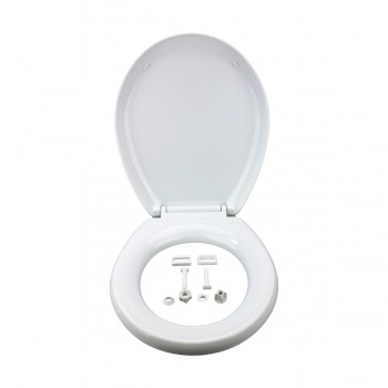 Slow EZ Close No Slam Plastic Round Toilet Seat White White Toilet Seat Toilet Seat Round Slow Close Toilet Seat