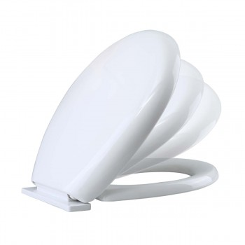 Slow EZ Close No Slam Plastic Round Toilet Seat White