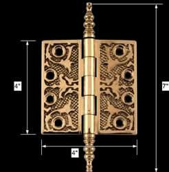 spec-<PRE>Victorian Solid Antique Brass Door Hinge Steeple Tip 4&quot; </PRE>