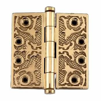 Victorian Solid Antique Brass Door Hinge Coin Tip 4