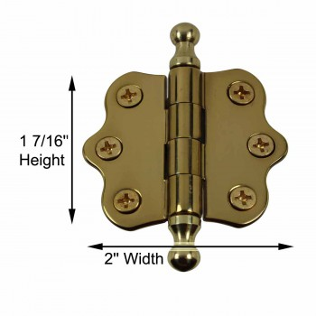 spec-<PRE>Cabinet Hinges Brass Ball Finial Cabinet Hinge 1 7/16 H X 2 W</PRE>
