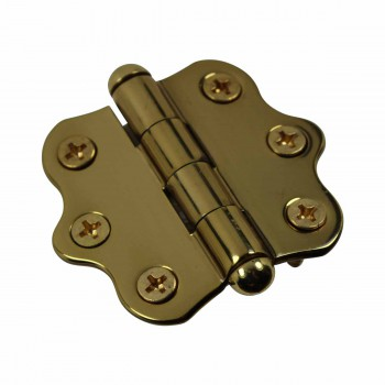 <PRE>Solid Brass Cabinet Hinge Vintage Button Tip 7/16H X 2W </PRE>