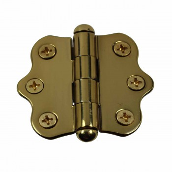 Solid Brass Cabinet Hinge Vintage Button Tip 7/16H X 2W 14434grid