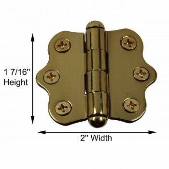 spec-<PRE>Solid Brass Cabinet Hinge Vintage Button Tip 7/16H X 2W </PRE>
