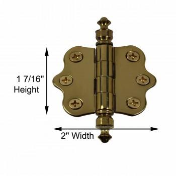 spec-<PRE>Solid Brass Cabinet Hinge Vintage Urn Tip 7/16H X 2W </PRE>