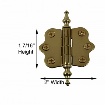 spec-<PRE>Solid Brass Cabinet Hinge Vintage Temple Tip 7/16H X 2W </PRE>