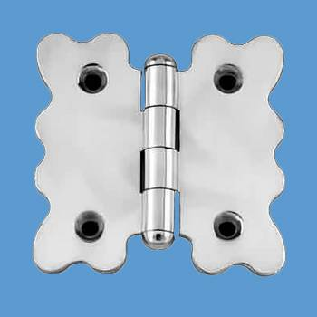 Door Hinges - Scallop Chrome Cabinet Hinge Button Finials 2 3/4 in. H x 2 7/8 in. W by the Renovator's Supply