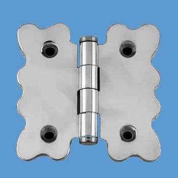 Door Hinges - Scallop Chrome Cabinet Hinge Coin Finials 2 3/4 in. H x 2 7/8 in. W by the Renovator's Supply