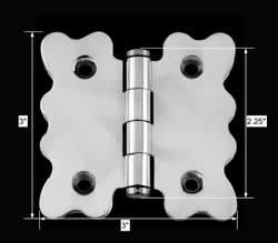 spec-<PRE>Chrome Brass Cabinet Hinge Vintage Coin Tip 2 3/4 X 2 7/8 </PRE>