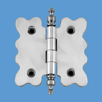 Door Hinges - Scallop Chrome Cabinet Hinge Urn Finials 2 3/4 in. H x 2 7/8 in. W by the Renovator's Supply