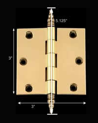 "spec-<PRE>Door Cabinet Hinge 3"" x 3"" Solid Brass Steeple Tip </PRE>"