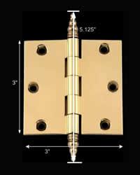 spec-<PRE>Door Cabinet Hinge 3&quot; x 3&quot; Solid Brass Steeple Tip </PRE>