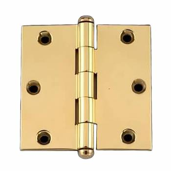 "<PRE>Door Cabinet Hinge 3inch x 3"" Square Solid Brass Button Tip </PRE>zoom1"