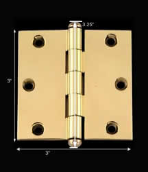 "spec-<PRE>Door Cabinet Hinge 3"" x 3"" Square Solid Brass Button Tip </PRE>"