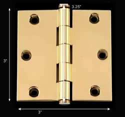 spec-<PRE>Door Cabinet Hinge 3&quot; x 3&quot; Square Solid Brass Coin Tip </PRE>