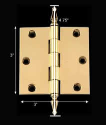 "spec-<PRE>3"" Square Door Cabinet Hinge Solid Brass Spire Finial </PRE>"