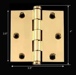 spec-<PRE>Solid Brass Door or Cabinet Hinge Coin Tip 3 1/2&quot; </PRE>