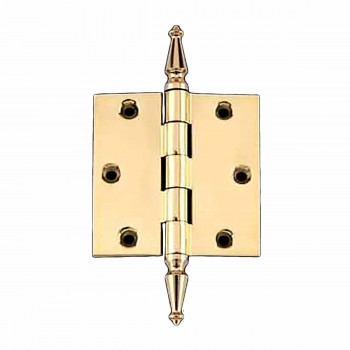 Solid Brass Door or Cabinet Hinge Spire Tip 3 1/2