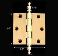 spec-<PRE>Solid Brass Door or Cabinet Hinge Urn Tip 3 1/2&quot; </PRE>