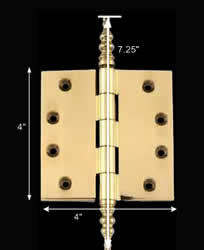 spec-<PRE>Solid Brass Door or Cabinet Hinge Steeple 4&quot; </PRE>