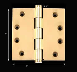 spec-<PRE>Solid Brass Door or Cabinet Hinge Coin Tip 4&quot; </PRE>