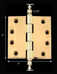 spec-<PRE>Solid Brass Door or Cabinet Hinge Urn Tip 4&quot; </PRE>