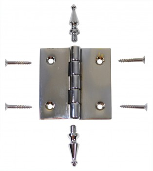 <PRE>Chrome Solid Brass Cabinet Hinge Spire Tip 2&quot; </PRE>