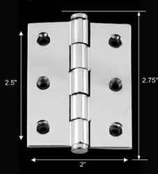 spec-<PRE>Cabinet Hinge Chrome Solisd Coin Tip 2&quot; x 2.5&quot; </PRE>