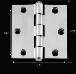 spec-<PRE>Chrome Solid Brass Cabinet Hinge Button Tip 3 1/2&quot; </PRE>