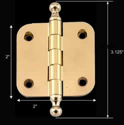 spec-<PRE>Solid Brass Cabinet Hinge Radius Ball Tip 2&quot; </PRE>