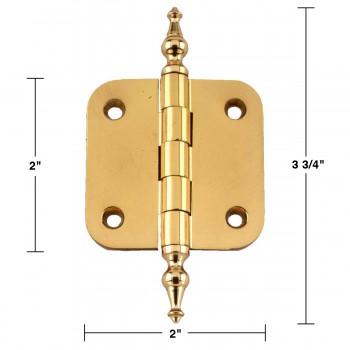 spec-<PRE>Solid Brass Cabinet Hinge Radius Temple Tip 2&quot; </PRE>