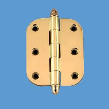 "<PRE>Solid Brass Cabinet Hinge Radius Helmet Tip 2inch x 2.5"" </PRE>zoom2"