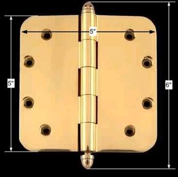 spec-<PRE>Solid Brass Door Hinge 5&quot; Radius Helmet Finial </PRE>