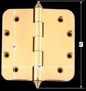 spec-<PRE>Solid Brass Door Hinge 5&quot; Radius Decor Finial </PRE>