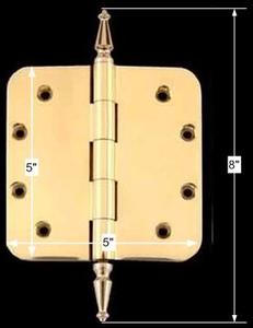 spec-<PRE>Solid Brass Door Hinge 5&quot; Radius Spire Finial </PRE>