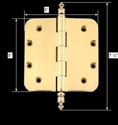 spec-<PRE>Solid Brass Door Hinge 5&quot; Radius Urn Finial </PRE>