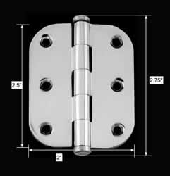 spec-<PRE>Cabinet Hinge Radius Chrome Brass Coin Tip 2&quot; x 2.5&quot; </PRE>