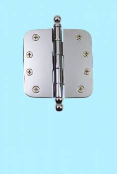 "<PRE>Chrome Door Hinge 4inch X 4"" Radius Brass Ball Tip </PRE>zoom2"