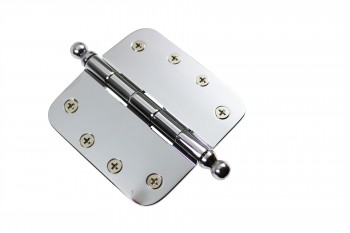 "<PRE>Chrome Door Hinge 4inch X 4"" Radius Brass Ball Tip </PRE>zoom3"
