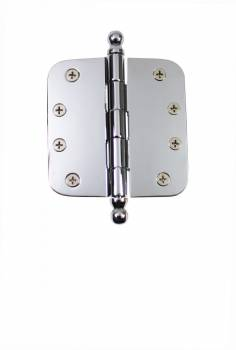 "<PRE>Chrome Door Hinge 4inch X 4"" Radius Brass Ball Tip </PRE>zoom1"