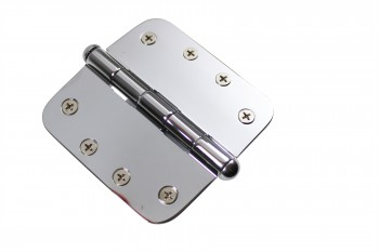 <PRE>Chrome Door Hinge 4&quot; X 4&quot; Radius Brass Button Tip </PRE>