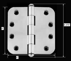 spec-<PRE>Chrome Door Hinge 4&quot; X 4&quot; Radius Brass Button Tip </PRE>