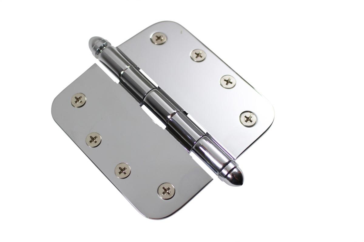 Chrome Door Hinge 4 X 4 Radius Brass Helmet Tip Door Hinges Door Hinge Solid Brass Hinge