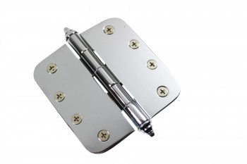 <PRE>Chrome Door Hinge 4&quot; X 4&quot; Radius Brass Decor Tip </PRE>