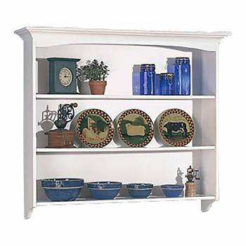 Shaker White Tulipwood Shaker Wall Hutch Tulipwood White 3 shelves146818grid