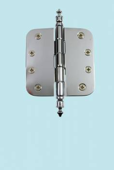 "<PRE>Chrome Door Hinge 4inch X 4"" Radius Brass Urn Tip </PRE>zoom2"