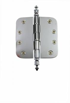 "<PRE>Chrome Door Hinge 4inch X 4"" Radius Brass Urn Tip </PRE>zoom1"