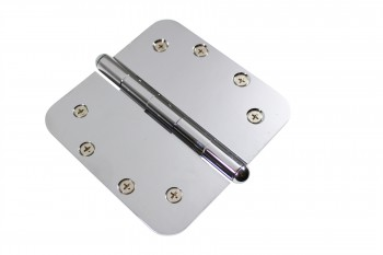 <PRE>Chrome Door Hinge 5&quot; X 5&quot; Radius Brass Button Tip </PRE>