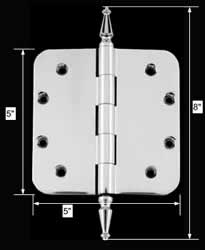 spec-<PRE>Chrome Door Hinge 5&quot; X 5&quot; Radius Brass Spire Tip </PRE>